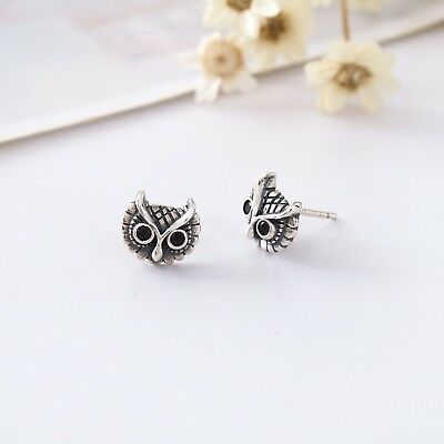 New Women Fashion Retro s925 Sterling Silver Owl Earrings Studs Vintage Gifts