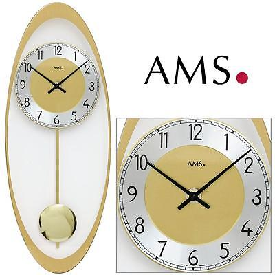 AMS 7417 WALL CLOCK QUARTZ WITH PENDULUM BRASS COLOURED living room