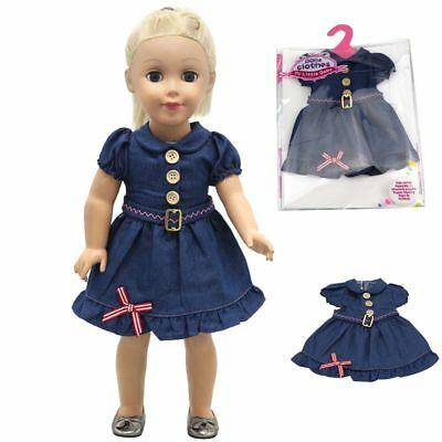 Handmade Jean Skirt Doll Clothes For 43cm Baby Born Zapf or American Girl Doll