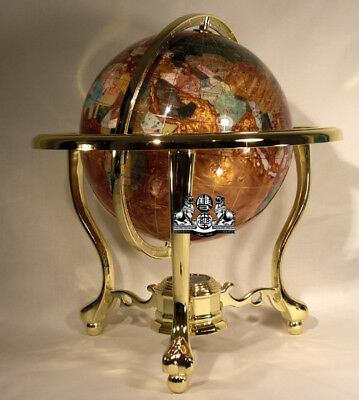 "13"" Tall Amber Pearl Gold Stand Gem Gemstone World Map Globe Globes Maps"
