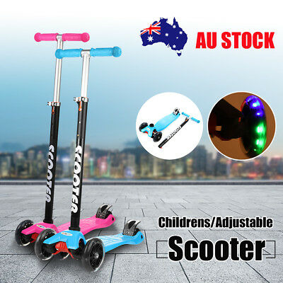 4 LED Light Up Flashing PU 3 Wheel Kids Kick Scooter Height For Boys Girls Kids