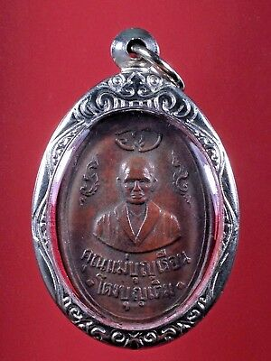 OLD THAI BUDDHA copper COIN Mae She Boon Ruan PENDANT STAINLESS STEEL CASE