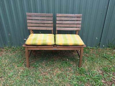 Modern Twin Love seat Double Outdoor Wooden Timber Seat Garden Patio Cushions