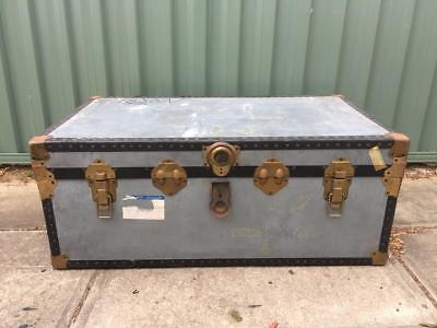 Vintage Industrial Shipping Trunk Steamer Chest Coffee Table Silver Metal #2