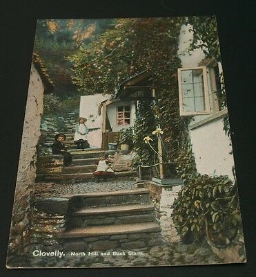 Vintage postcard of Clovelly North Hill and Back Stairs