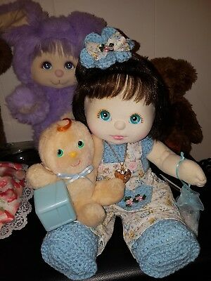 💞 Mattel My Child 💞 US GiRL, Bru Topknot, Aqua Eyes, Peach/Pink, Locket ♡ EC