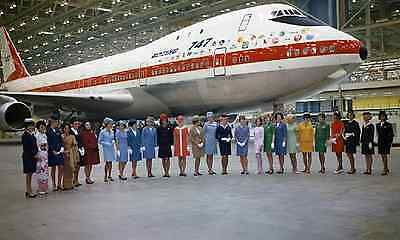 737 707 Concorde Plus** Stewardess Flight Attendants in Jet Engines now and then
