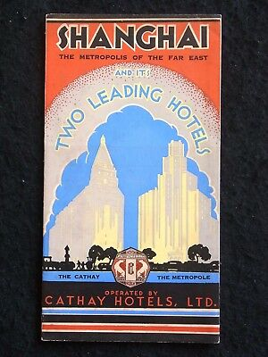 Shanghai Cathay Metropole Hotel Brochure / Panoramic Photo Map Luggage Label