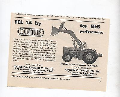Conquip Fel 14 Loader Massey Ferguson Tractor Advertisement Farming Magazine