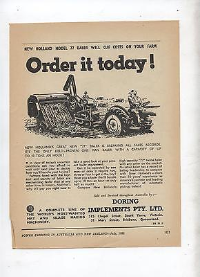 New Holland Model 77 Baler Advertisement removed from 1952 Farming Magazine