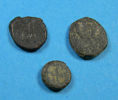 lot of (3) unidentified Ancient Judean Prutah / Greek or Roman coins  (0727)
