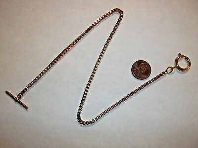 "Pocket Watch Chain Gold Tone 15"" Long Square Link 16mm Spring Ring Vtg. Look"