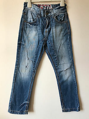 Next Boys 5-6 Years Skinny Distressed Washed Blue Jeans 116 cm @