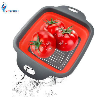 Square Folding Colander Eco-friendly Collapsible Drainer Food Strainer Filter