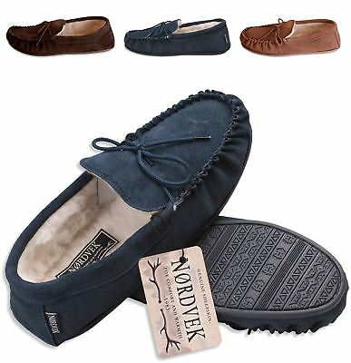 Nordvek Mens Genuine Suede Sheepskin Wool Moccasin Slippers Hard Sole 422-100