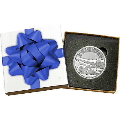 Swimming 1 oz .999 Fine Silver Round by SilverTowne (Blue Bow Box)
