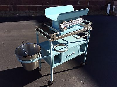 Vtg Robin Egg Blue Doctors Infant Changing Table With Scale On Wheels -Very Good