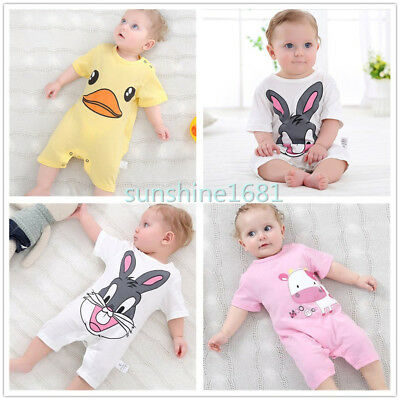 Newborn Infant Baby Boy Girls Kids Romper Jumpsuit Bodysuit Cotton Cloth Outfits