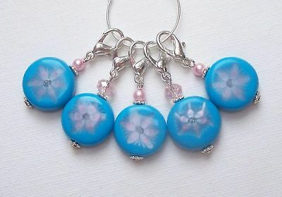 5 x Pretty Blue Flower Coin Bead KNITTING or CROCHET Stitch Markers ~ CLAWS