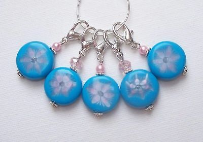 *CLEARANCE* Blue Flower Coin Bead KNITTING or CROCHET Stitch Markers CLAWS