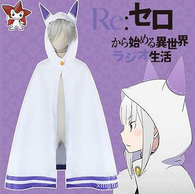 Re:Zero kara Hajimeru Isekai Seikatsu Emilia Elf Cosplay Cat Ear Cape Cloak HOT