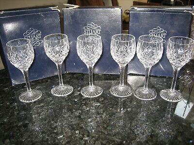 "STUART CRYSTAL SHAFTESBURY LIQUEUR GLASSES 4 3/4"" BOXED SIGNED x 6  EX.CON"
