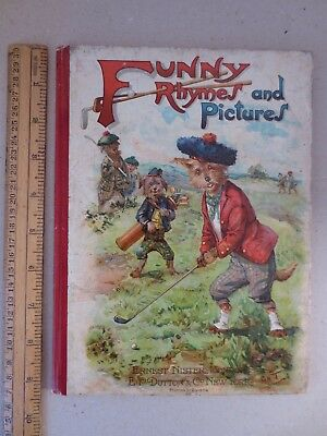1906 Louis Wain centre spread Nister 1318 Funny Rhymes & Pictures Golf Cover