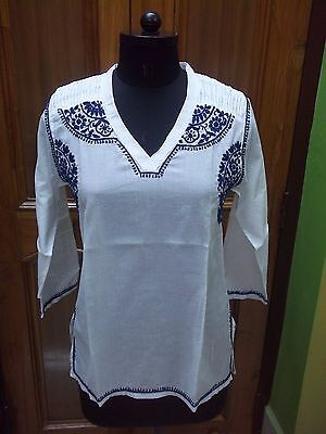 Ethnic 100%cotton Malmal Xs 37 Blouse Handmade Tunic Kurta Top Chikan Embroidery