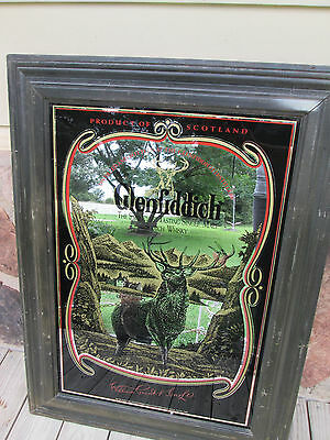 Vintage Glenfiddich Mirror pub Bar single malt Scotch Whisky Sign