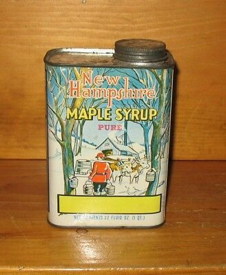 Vintage New Hampshire Maple Syrup 1 Quart Tin Litho Can