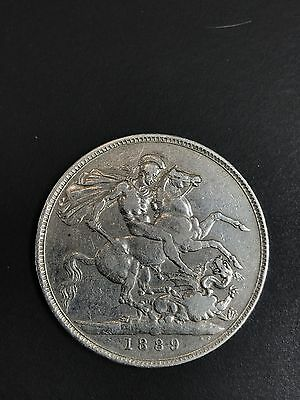 Queen Victoria Sterling Silver Crown 1889 Nice Coin Great Britain Uk