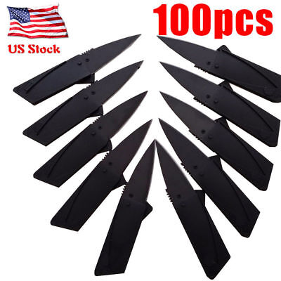 100 x Credit Card Knives Lot Folding Wallet Thin Pocket Survival Micro Knife USA