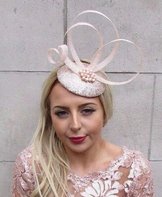 Real Pearl Light Blush Pink Champagne Pillbox Hat Fascinator Races Formal 4573