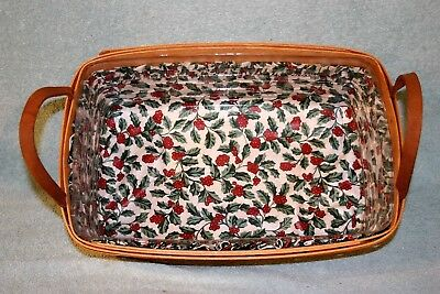 1991 Longaberger Rectangular Basket with Plastic Protector and Holly Liner