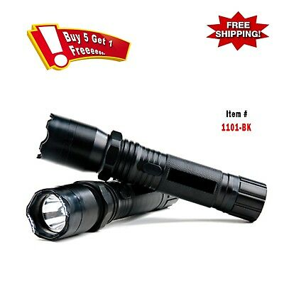 Metal Police Stun Gun 18 Million Volt Rechargeable LED Flashlight with Case