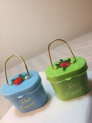 Lot of 2 Vintage Rain Bonnet Hat Blue & Green Plastic Purse With Unused Bonnets