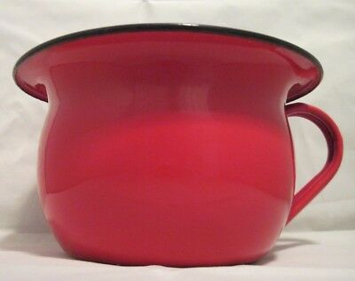 Vtg Enamel Ware Red w/Black Trim Child's Chamber Pot **Yugoslavia**