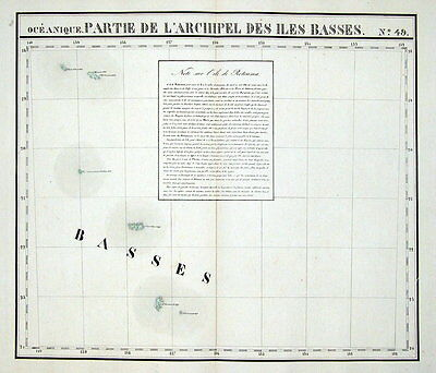 BASS Is.  AUSTRAL Is. FRENCH POLYNESIA , PACIFIC, VANDERMAELEN  antique map 1827