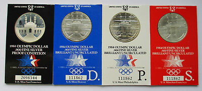 USA Lot von 4 x One Dollar 1984 S,S,P,D, Olym.Spiele 1984 in Los Angeles, Proof
