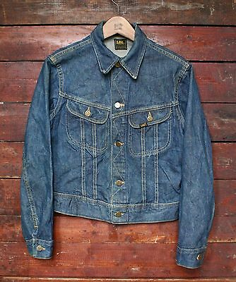 VTG 70s LEE RIDERS SANFORIZED DENIM JEAN TRUCKER JACKET UNION MADE USA XS