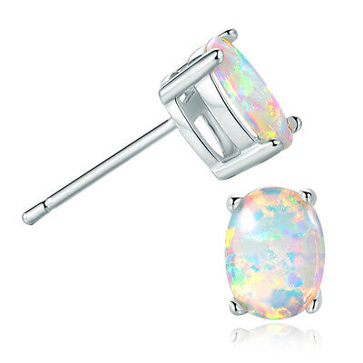 Plated Oval Opal Stud Earrings 6x8MM (White) X1P8