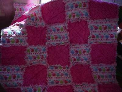 Hand Made ~Boutique ~Just Pink~Birdies~ Dots~ Hearts ~ Baby Girl Rag Quilt