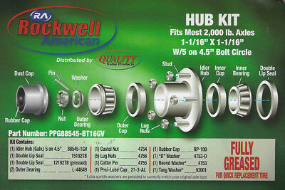 "Galvanized Trailer Hub Kit 2,000 lb. Axles 1-1/16"" x 1-1/16"" W/5 on 4.5"