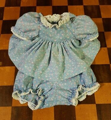 💞Mattel My Child Doll💞 Original Blue Floral Pinny Dress Set 💙no pinny💙 EUC
