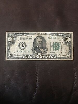1928 Fifty Dollar Currency Bill 50$ Paper Money Note Cleveland Payable In Gold