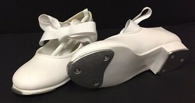 Theatrical Dance Footwear *girls White Patent Leather Dance Tap Shoes* Brand New