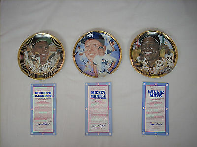 3 Hamilton Collector Plates: Roberto Clemente, Mickey Mantle, and Willie Mays