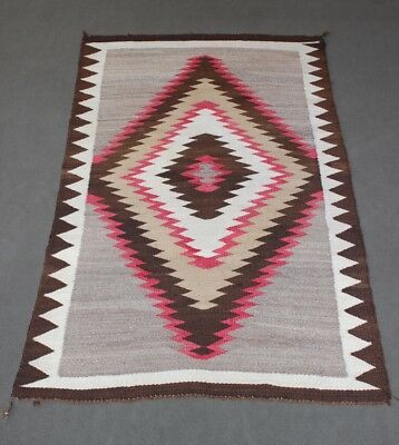 Classic Navajo Indian Rug Hand Dyed And Hand Woven Southwest Eyedazzler