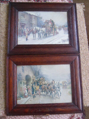 A Pair Of Old Oak Vintage Portrait Picture Frames With Prints Horses Coaches Etc