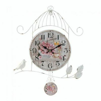 Birdcage Country Rose Wall Clock Distressed White Vintage Style Decor